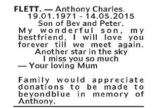 Notice-1 Funeral Service for Anthony Charles Flett