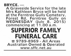 Notice-11 Funeral Service for Mrs Kathleen Bryce