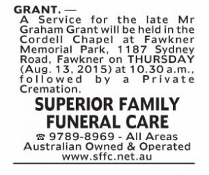 Notice-20 Funeral Service for Mr Graham Grant