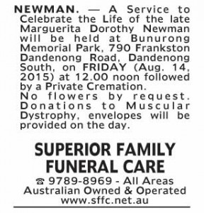 Notice-22 Funeral Service for Marguerita Dorothy Newman