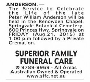 Notice-24 Funeral Service for Peter William Anderson