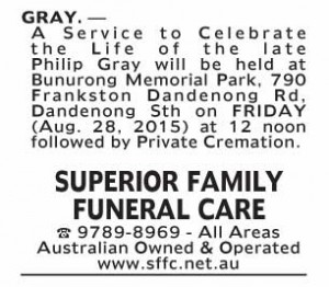 Notice-25 Funeral Service for Mr Philip Gray