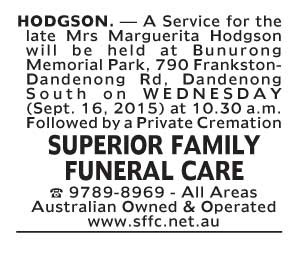 Notice-28 Funeral Service for Mrs Marguerita Hodgson