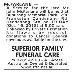Notice-36 Funeral Service for Mr John McFarlane