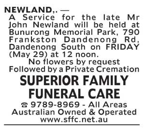 Notice-4 Funeral Service for Mr John Newland