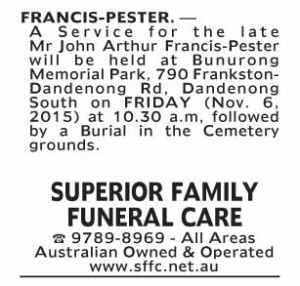 Notice-40 Funeral Service for Mr John Arthur Francis-Pester