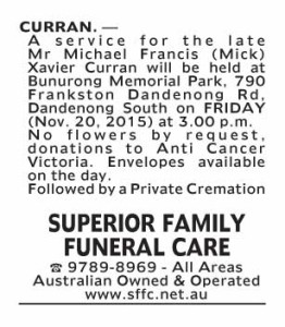 Notice-46 Funeral Service for Mr Michael Francis (Mick) Xavier Curran