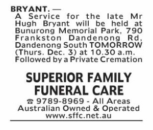 Notice-47 Funeral Service for Mr Hugh Bryant