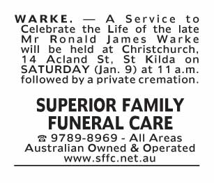 Notice-49 Funeral Service for Mr Ronald James Warke