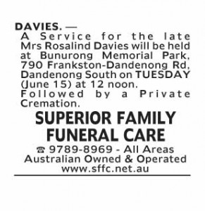 Notice-5 Funeral Service for Mrs Rosalind Davies