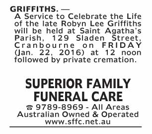 Notice-50 Funeral Service for Robyn Lee Griffiths