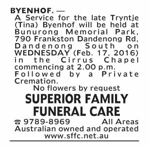 Notice--53 Funeral Service for Tryntje (Tina) Byenhof