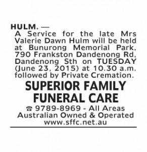 Notice-6 Funeral Service for Mrs Valerie Dawn Hulm