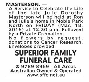 Notice--60 Funeral Service for Julie Dorothy Masterson