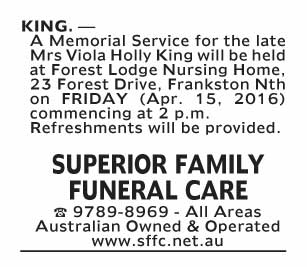 Notice-64 Funeral Service for Mrs Viola Holly King