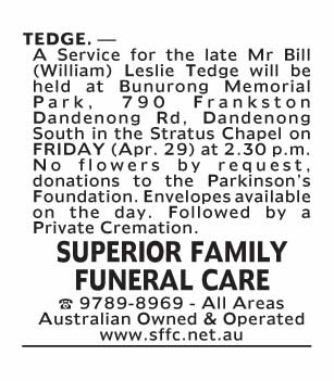 Notice-68 Funeral Service for Mr Bill (William) Leslie Tedge