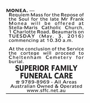 Notice-76 Funeral Service for Mr Frank Monea
