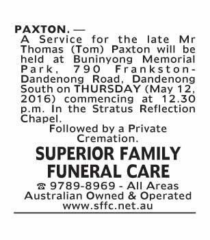 Notice-77 Funeral Service for Mr Thomas (Tom) Paxton