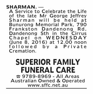 Notice-81 Funeral Service for Mr George Jeffery Sharman