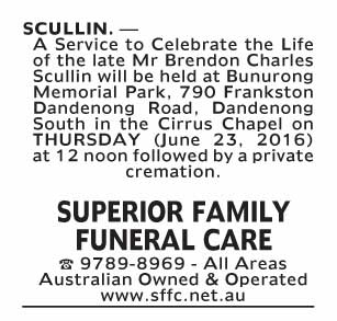 Notice-85 Funeral Service for Mr Brendon Charles Scullin