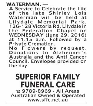 Notice-86 Funeral Service for Shirley Lois Waterman