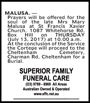 Mrs Mary Malusa Funeral Notice