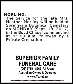 Mrs Heather Norling Funeral Notice