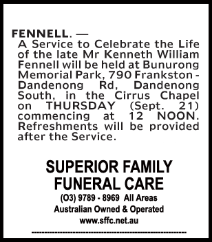 Mr Kenneth William Fennell Funeral Notice