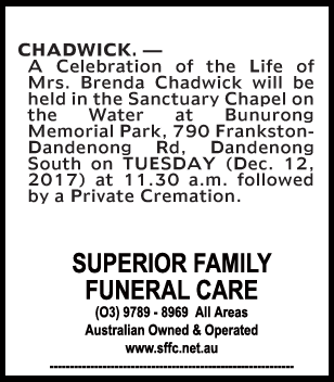 Funeral Notice for Mrs Brenda Chadwick