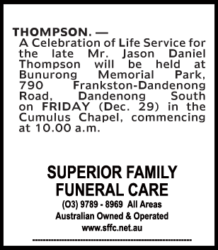 Funeral Notice for Mr Jason Daniel Thompson