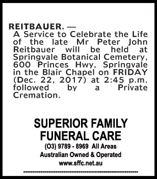 Funeral Notice for Mr Peter John Reitbauer