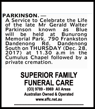 Funeral Notice for Mr Gerald Walter Parkinson