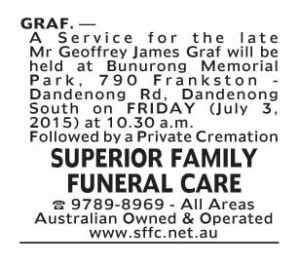 Notice-10 Funeral Service for Mr Geoffrey James Graf