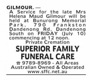 Notice-12 Funeral Service for Mrs Helena Maud Gilmour
