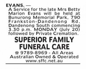 Notice-13 Funeral Service for Mrs Betty Marion Evans