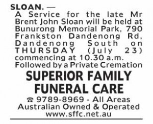 Notice-14 Funeral Service for Mr Brent John Sloan