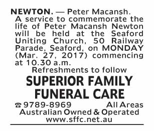 funeral service notice-144 seaford