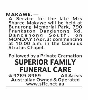 funeral service notice-146 Dandenong South
