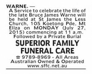 Notice-15 Funeral Service for Mr Bruce James Warne