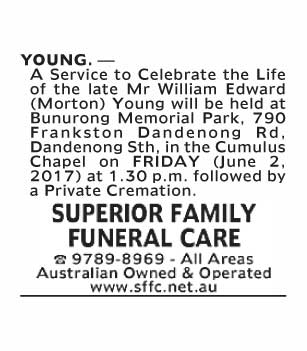 Mr William Edward (Morton) Young Funeral Service
