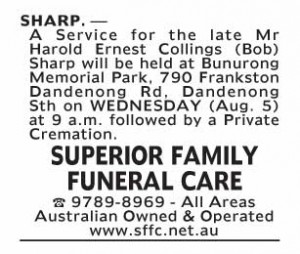 Notice-16 Funeral Service for Mr Harold Ernest Collings (Bob) Sharp