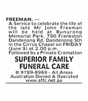 Mr John Freeman Funeral Notice