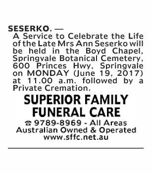 Mrs Ann Seserko Funeral Notice