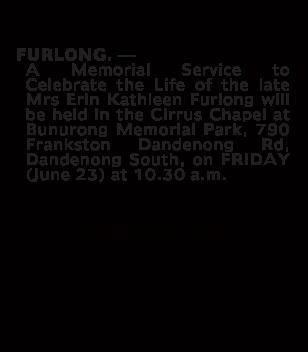 MrsErin Kathleen Furlong Funeral Notice