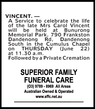 Mrs Carol Vincent Funeral Notice