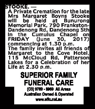 Margaret Boyns Stooke Funeral Notice