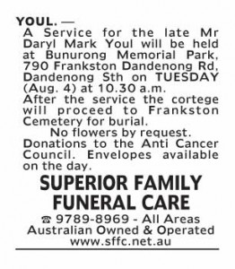 Notice-17 Funeral Service for Mr Daryl Mark Youl