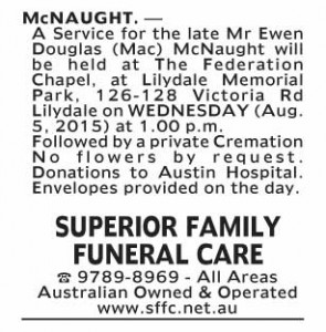 Notice-18 Funeral Service for Mr Ewan Douglas (Mac) McNaught