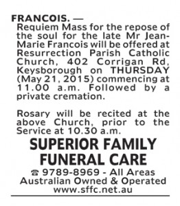 Notice-2 Funeral Service for Mr Jean-Marie Francois