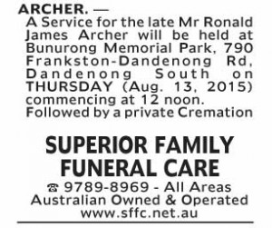 Notice-21 Funeral Service for Mr Ronald James Archer